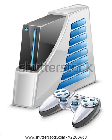 Vector illustration of game console on white background - stock vector