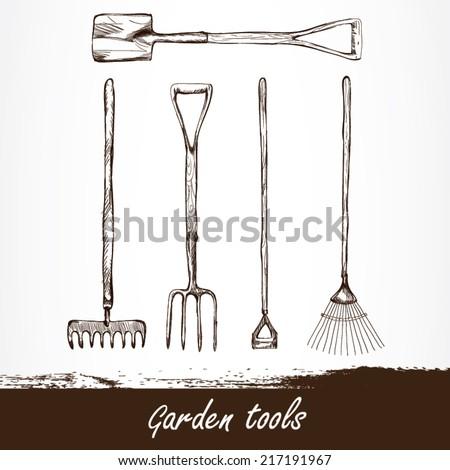 vector illustration of gardening tools. Hand drawn design - stock vector