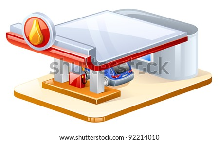 Vector illustration of gasoline station on white background - stock vector