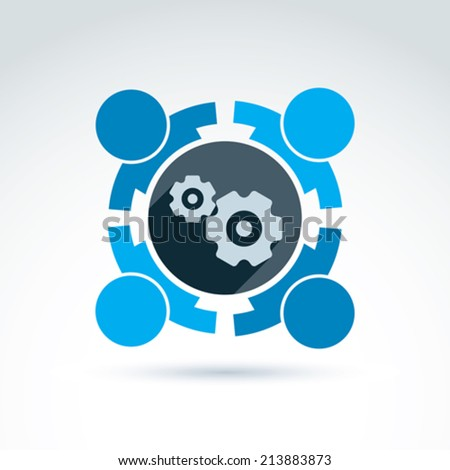 Vector illustration of gears - enterprise system theme, organization strategy concept. Cog-wheels, moving parts and people �¢?? components of manufacturing process.  - stock vector