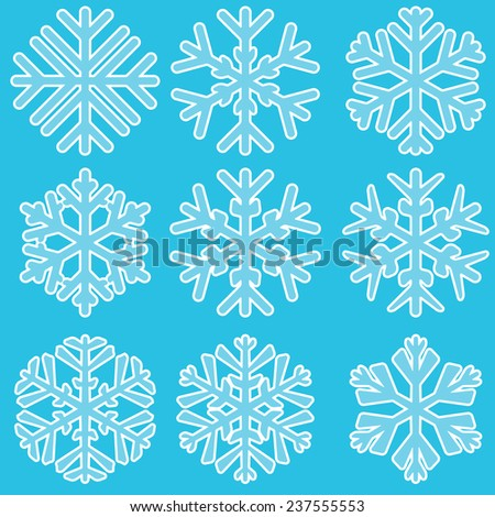 Vector illustration of Geometric blue Snowflakes set - stock vector