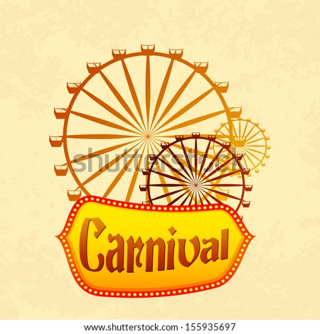 vector illustration of giant wheel in retro carnival poster - stock vector