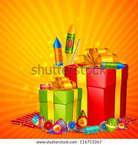 vector illustration of gift and firecracker for Diwali - stock vector