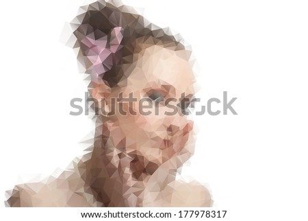 Vector illustration of girl consisted of triangles - stock vector
