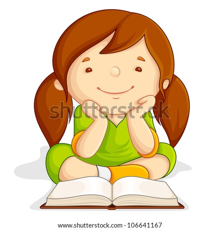 vector illustration of girl reading open book sitting on floor - stock vector