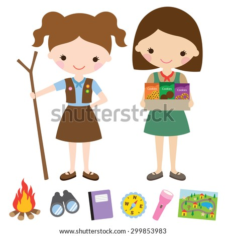 Vector illustration of girl scouts and related items. - stock vector