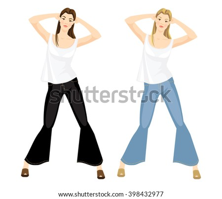 Vector illustration of girls in jeans and white top isolated on white background. Blond girl and brunette girl. - stock vector