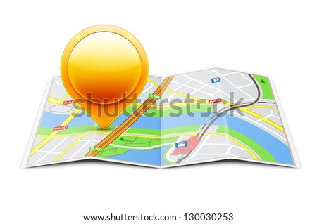 Vector illustration of global navigation concept with city map and glossy location pointer icon on it - stock vector