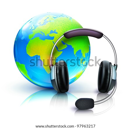 Vector illustration of global online support concept with headset and blue glossy globe - stock vector