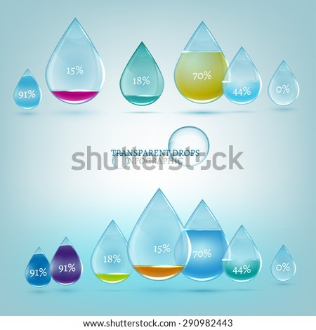 Vector illustration of glossy water drops infographic elements. Transparent scientific concept in light blue color.  Template for diagram, graph, presentation and chart with options, parts and steps.  - stock vector
