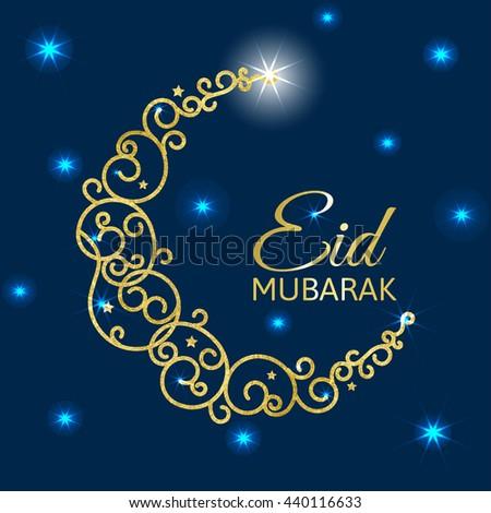 Vector illustration of glowing golden crescent. Eid al adha card Isolated on abstract background. Eid mubarak islamic celebration card. - stock vector