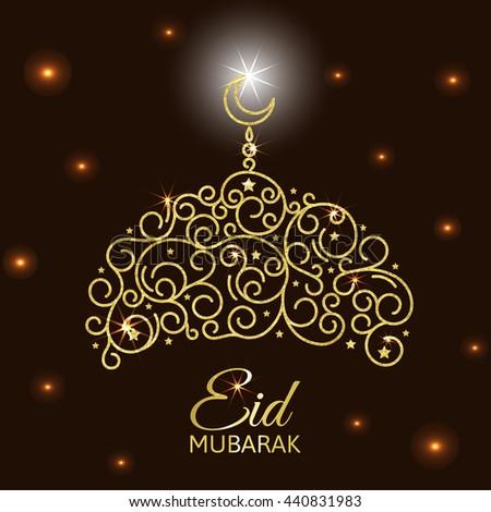 Vector illustration of glowing golden mosque. Eid al adha card Isolated on abstract background. Eid mubarak islamic celebration card. - stock vector