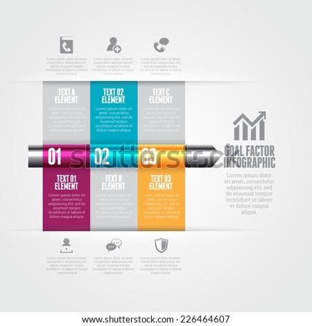 Vector illustration of goal factor infographic design elements. - stock vector