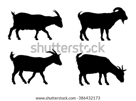 Vector illustration of goats silhouettes over white background - stock vector