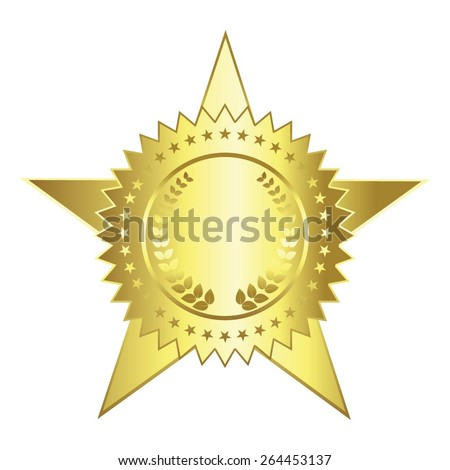 Vector illustration of Gold award with stars and a laurel wreath on white - stock vector