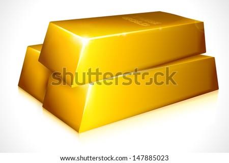 vector illustration of gold brick against white background - stock vector