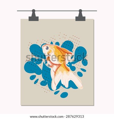 vector illustration of gold fish. can be used for banner, poster, logo, advertisement and etc - stock vector