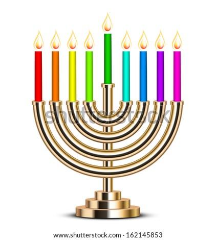 Vector illustration of gold Hanukkah menorah - stock vector