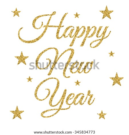 Vector illustration of gold happy new year. - stock vector