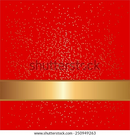 Vector illustration of Gold ribbon and sparkles on a red. - stock vector