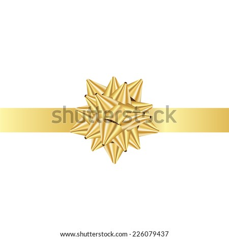 Vector illustration of gold Ribbon bow - stock vector