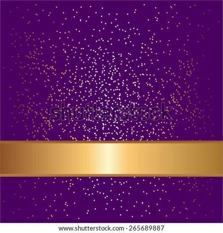 Vector illustration of Gold ribbon on a purple background with sparkles. - stock vector