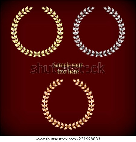 Vector illustration of Gold, silver and bronze laurel wreaths. Red background. - stock vector