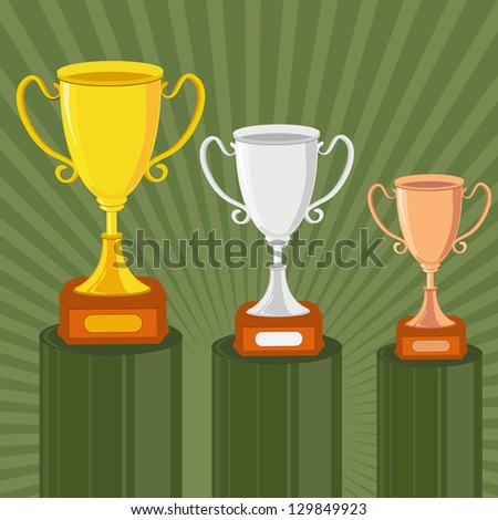 vector illustration of gold, silver and bronze trophy against abstract background - stock vector