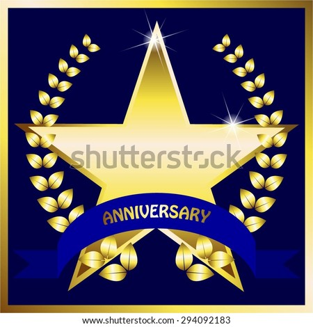 Vector illustration of Gold star and laurel wreath on a blue background. Blue bow. Anniversary. - stock vector