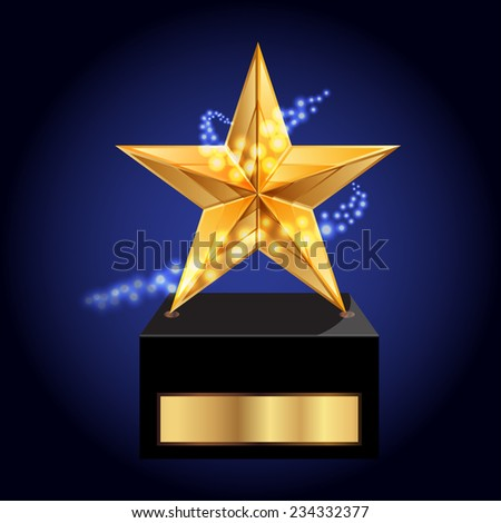 Vector illustration of gold star award - stock vector
