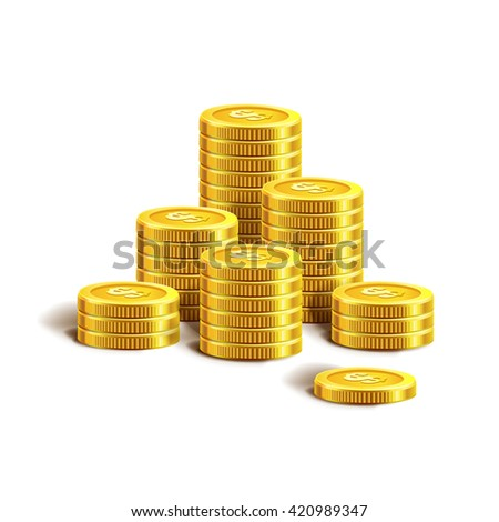 Vector Illustration of golden coins. Isolated on white.  Gold coins or money. Increase earnings. Business finance vector illustration. Golden coins. Golden money. Coin.  - stock vector
