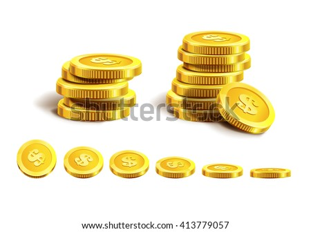 Vector Illustration of golden coins. Isolated on white. Set of golden coins. Golden coins. Golden money. Money. Coins. - stock vector