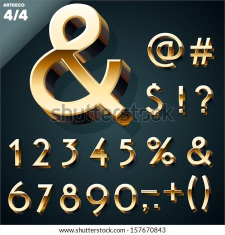 Vector illustration of golden 3D alphabet. Art Deco style. Set 4 - stock vector