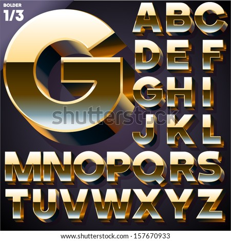 Vector illustration of golden 3D alphabet. Bold style. Set  - stock vector
