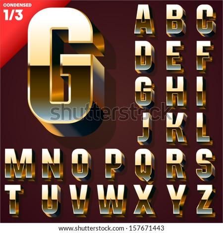 Vector illustration of golden 3D alphabet. Condensed style. Set 1 - stock vector
