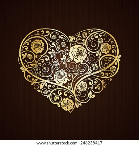 Vector illustration of Golden heart of floral ornament - stock vector