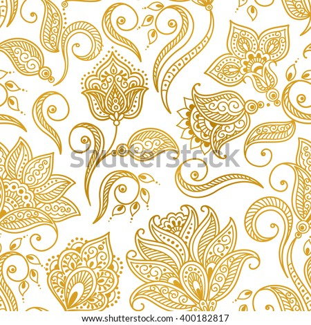 Vector illustration of golden mehndi seamless pattern. Traditional indian style, ornamental floral elements for henna tattoo, golden stickers, mehndi and yoga design, cards and prints - stock vector