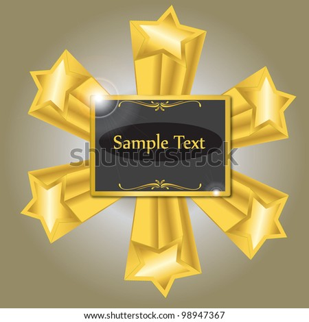 vector illustration of golden sign with stars - stock vector
