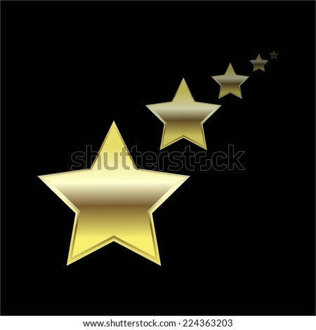 Vector illustration of 5 Golden stars on a black background - stock vector