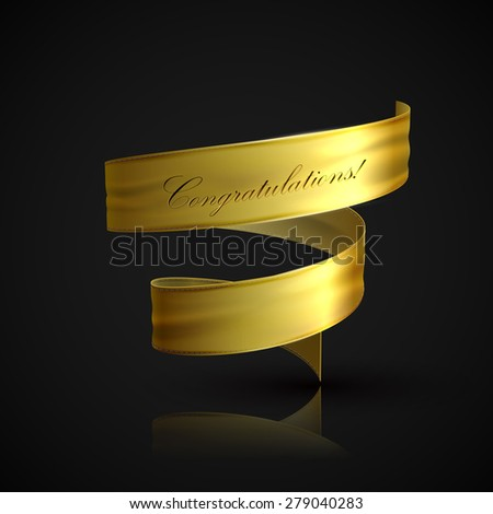 vector illustration of golden textile ribbon. decorative element for design. banner - stock vector