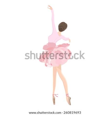 Vector illustration of graceful ballet dancer in flower tutu skirt on clear/white background.  - stock vector