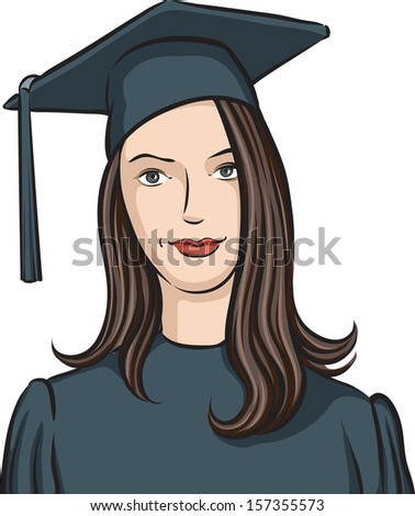 Vector illustration of graduate girl. Easy-edit layered vector EPS10 file scalable to any size without quality loss. High resolution raster JPG file is included.  - stock vector
