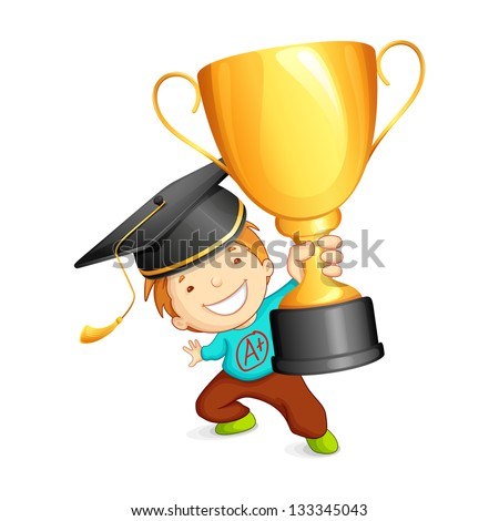 vector illustration of graduate holding gold trophy - stock vector