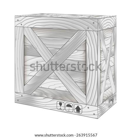 Vector illustration of gray wooden box on white,Vector illustration - stock vector