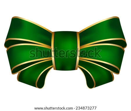 Vector illustration of green bow on white background - stock vector