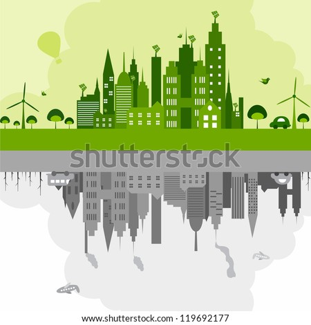 vector illustration of green building with windmill and dirty building with industry - stock vector