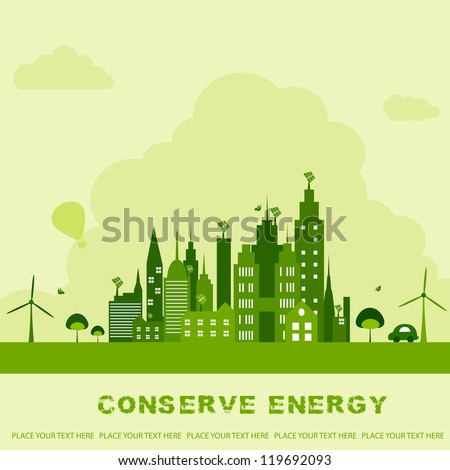 vector illustration of green building with windmill for ecological concept - stock vector
