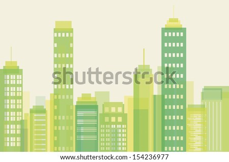 Vector illustration of green city buildings  - stock vector