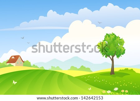 Vector illustration of green countryside - stock vector