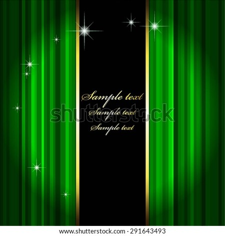 Vector illustration of Green Curtain. Theatre Stage. - stock vector